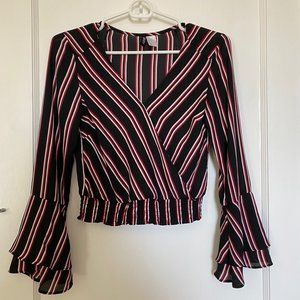 Divided bell sleeve crop top
